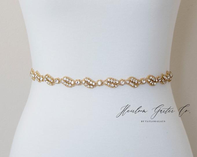 Dainty Gold Bridal Belt, Square Bridal Sash, Beaded Bridal Sash, Wedding Belt, Wedding Sash Rhinestone Sash B115G
