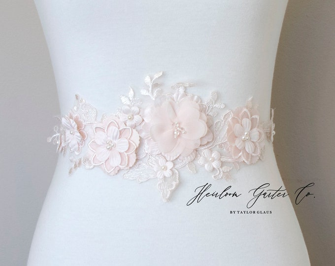 Floral Bridal Belt, Bridal Sash, Wedding Belt, Wedding Sash, Beaded Floral Dress Sash B111 BLUSH