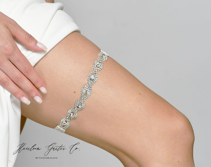 Crystal Wedding Garter NO SLIP grip vintage rhinestones, custom garter, simple garter, rhinestone garter EB19S