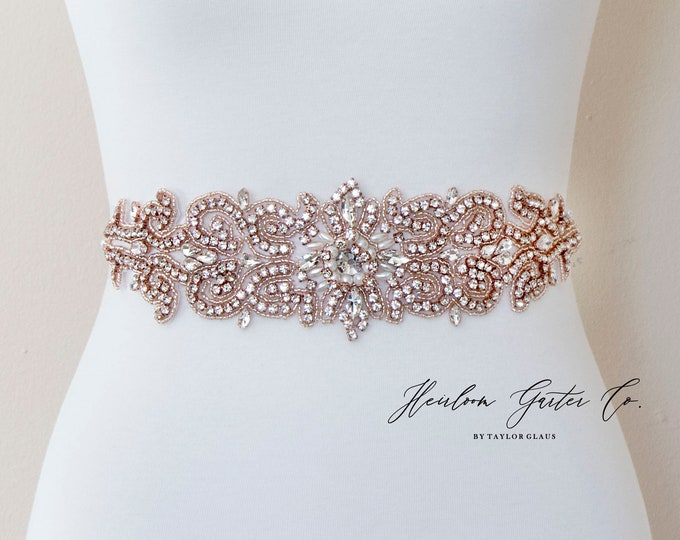 Wedding Dress Belt, Bridal Sash, Wedding Belt, Wedding Sash Rhinestone and Pearl Sash, B120RG