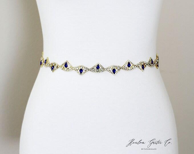 Blue Bridal Belt, bridesmaid belt, Bridal Sash, Something Blue, Wedding Belt, Wedding Sash Rhinestone Sash B48