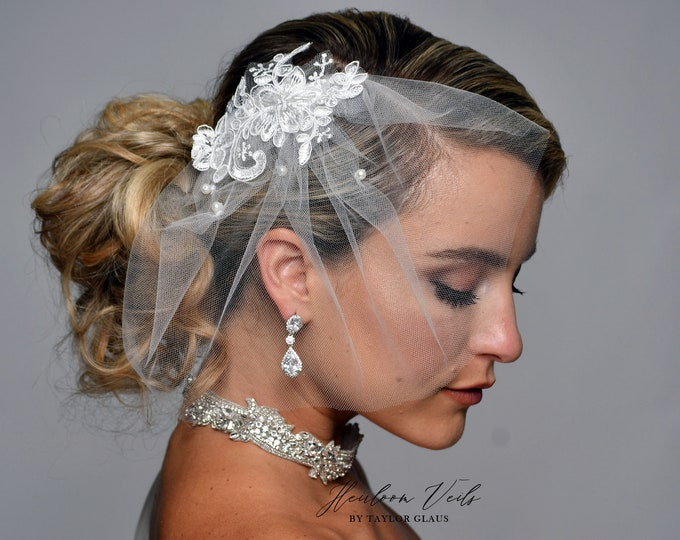 Birdcage Wedding Veil, Birdcage Veil, Bridal Veil Veil, Multiple Colors, Customized Wedding Veil SD-40 with pearls