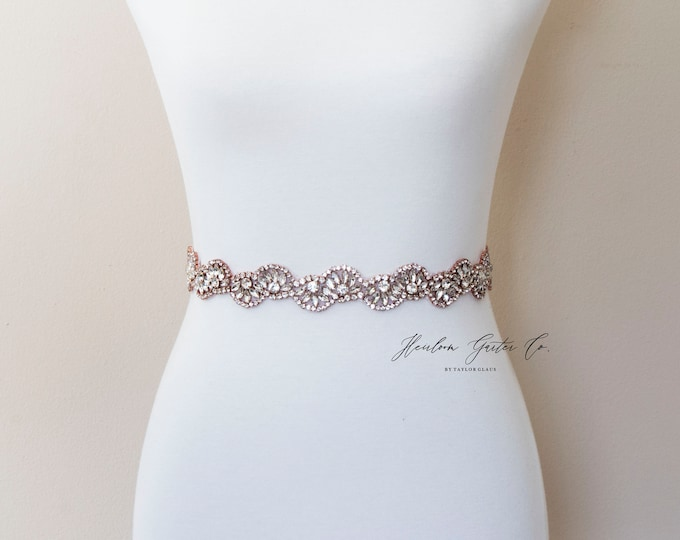 Rose Gold Wedding Dress Belt, Bridal Sash, Wedding Belt, Wedding Sash Rhinestone Sash, B128RG