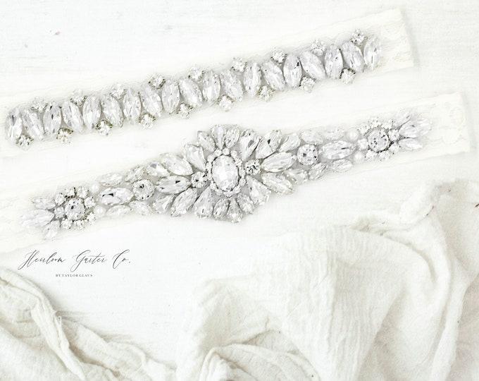 Wedding Garter, Something Blue, NO SLIP Lace Wedding Garter Set, bridal garter set, vintage rhinestone C78-CB13S