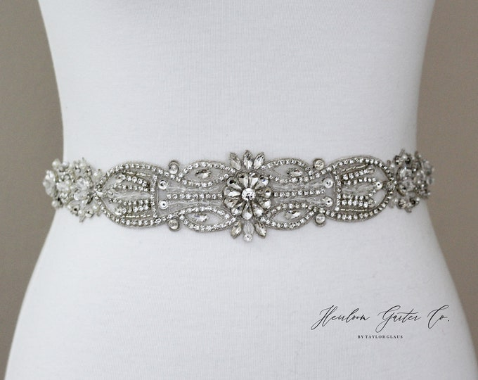 Bridal Belt, Bridal Sash, Beaded Bridal Sash, Wedding Belt, Wedding Sash Rhinestone Sash B53