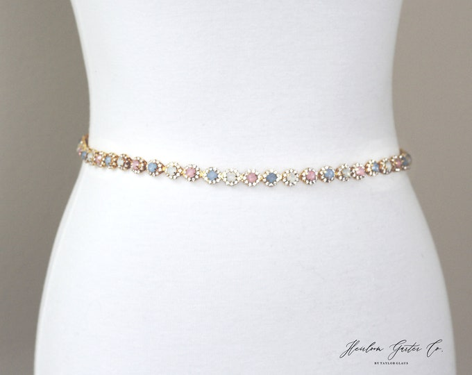 Gold Bridesmaid Belt, Bridal Belt, bridesmaid belt, Bridal Sash, Something Blue, Wedding Belt, Wedding Sash Rhinestone Sash B47
