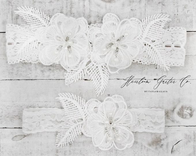 Lace Wedding Garter Set, NO SLIP grip bridal garters floral garter set WHITE B76-C76