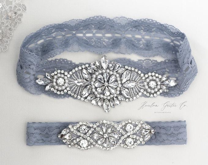 Wedding Garter, NO SLIP Lace Wedding Garter Set, bridal garter set, vintage rhinestones B11S-C02S