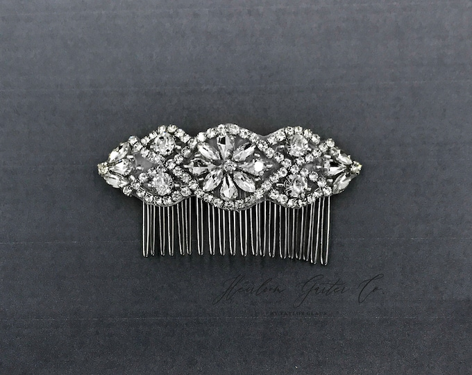 Silver Wedding Haircomb, Bridal Headpiece, Rhinestone Hairpiece, Hair Tiara, Hair Jewelry, Bridesmaid, Hair Accessory 02S
