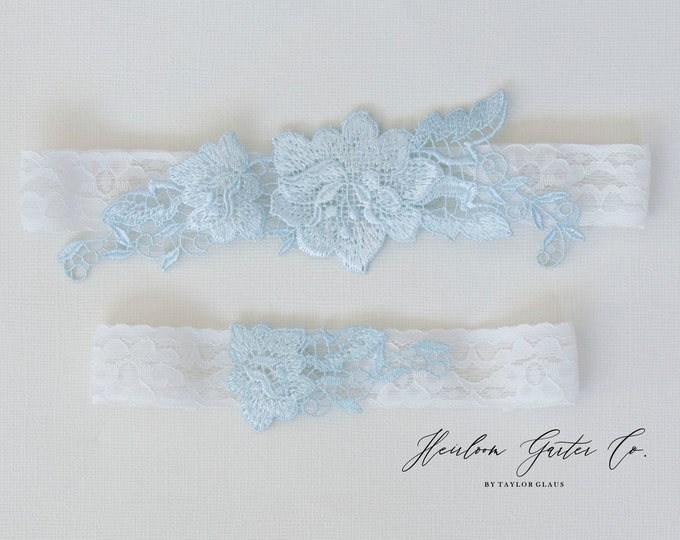 Something Blue Wedding Garter Set NO SLIP grip vintage rhinestones bridal garter, elegant wedding garter set WHITE C95blue-C95blue