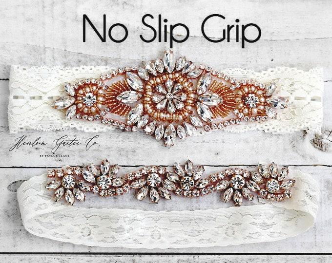 Rose Gold Wedding Garter, Something Blue, NO SLIP Lace Wedding Garter Set, bridal garter set, vintage rhinestones B11RG-CB05RG
