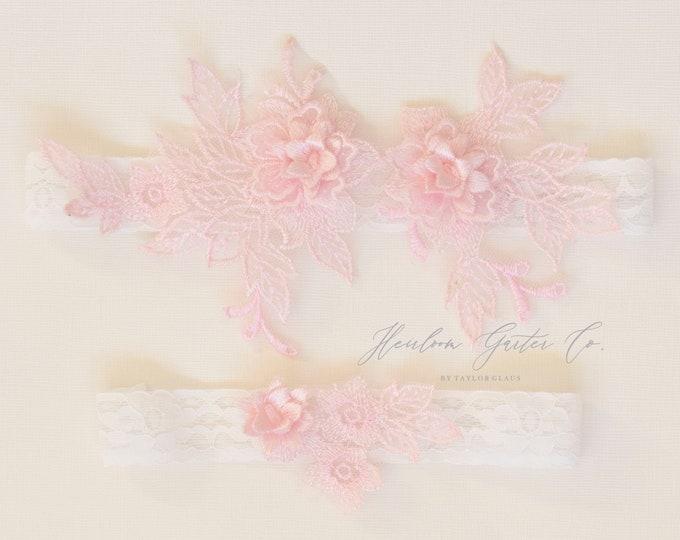 Floral Wedding Garter Set NO SLIP grip vintage rhinestones bridal garter, elegant wedding garter set WHITE C87pink-C87pink