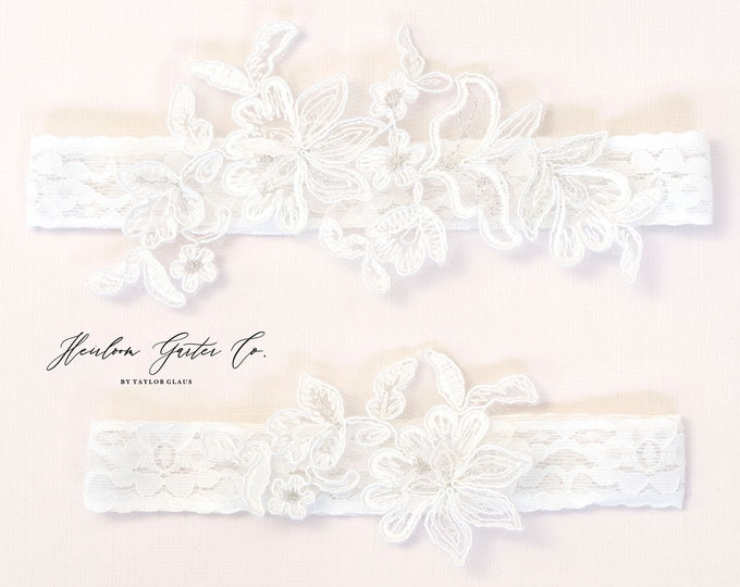 Floral Wedding Garter Set NO SLIP grip vintage rhinestones bridal garter, elegant wedding garter set WHITE C92-C92