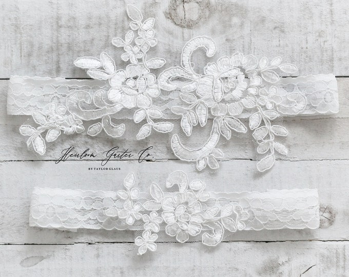 Lace Wedding Garter Set, NO SLIP grip bridal garters floral garter set WHITE C69-C69