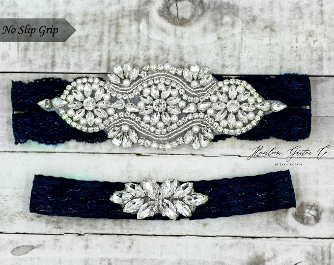 Navy Bridal Garter, navy garter, NO SLIP Lace Wedding Garter Set, bridal garter set, vintage something blue Navy B05S-C21
