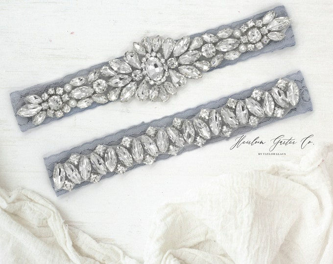 Wedding Garter, NO SLIP Lace Wedding Garter Set, bridal garter set, vintage rhinestones D78S-D13S