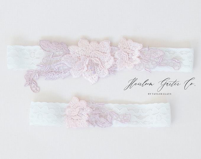 Floral Wedding Garter Set NO SLIP grip vintage rhinestones bridal garter, elegant wedding garter set WHITE C95pink-C95pink