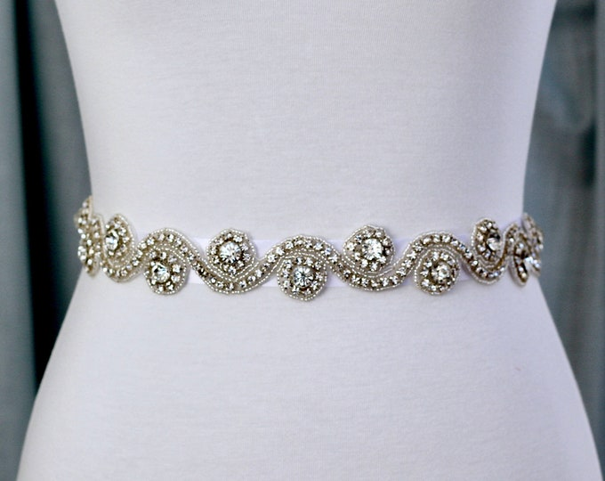Bridal Belt, Bridal Sash, Wedding Belt, Wedding Sash Rhinestone and Pearl Sash B30 silver