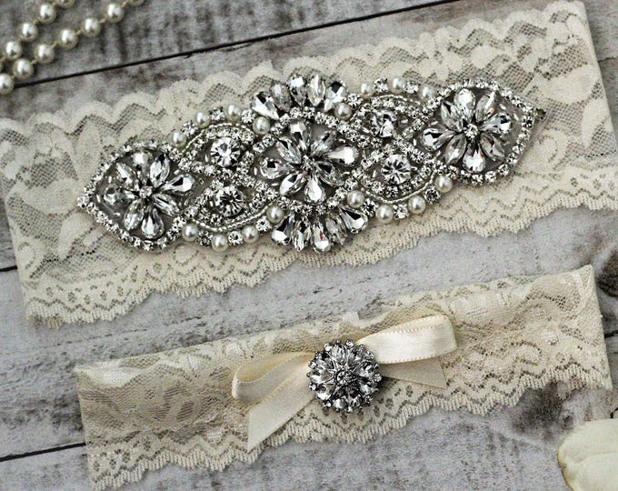 Ivory Wedding Garter Set NO SLIP grip, pearl and rhinestone garter set, IVORY A01S-A*29