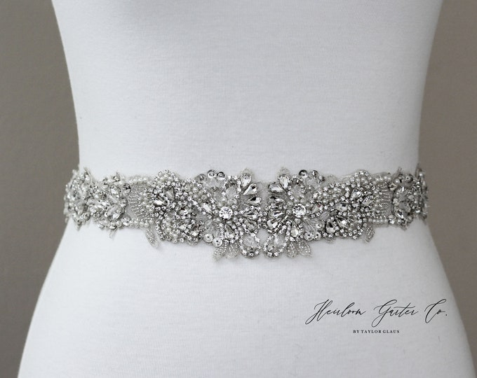 Bridal Belt, Floral Rhinestone Bridal Sash, Beaded Bridal Sash, Wedding Belt, Wedding Sash Rhinestone Sash B61