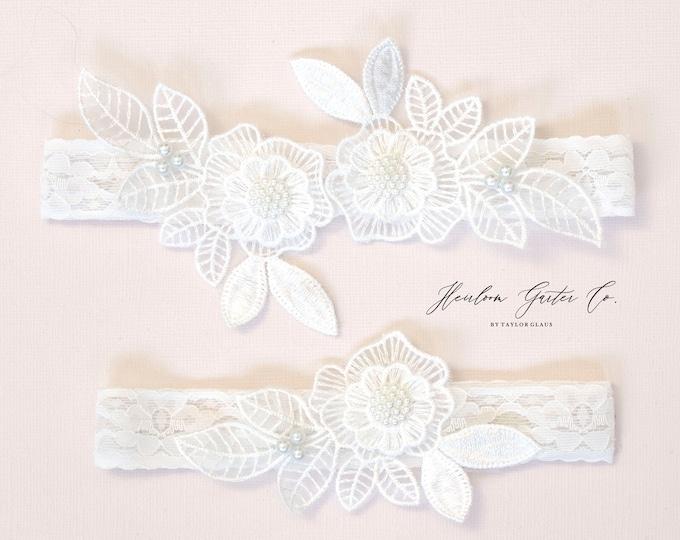Floral Wedding Garter Set NO SLIP grip vintage rhinestones bridal garter, elegant wedding garter set WHITE C86-C86