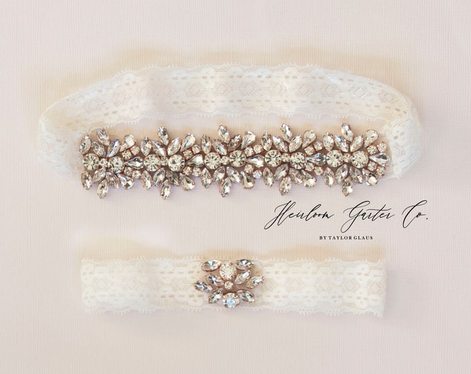 Rose Gold Wedding Garter Set NO SLIP grip vintage rhinestones bridal garter, elegant wedding garter set IVORY Db04RG-D51RG