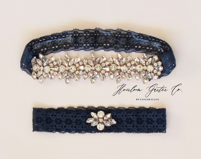 Rose Gold Wedding Garter Set NO SLIP grip vintage rhinestones bridal garter, elegant wedding garter set NAVY DB04RG-D51RG