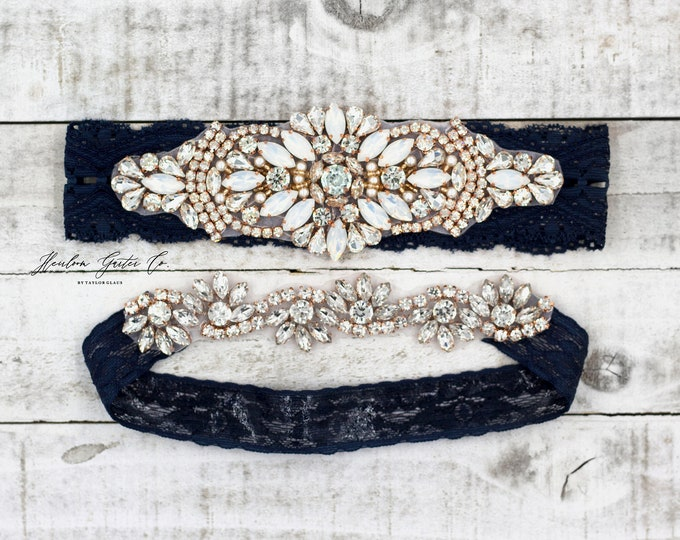 Rose gold Bridal Garter, navy garter, NO SLIP Lace Wedding Garter Set, bridal garter set, vintage something blue Navy B18RG-CB05RG