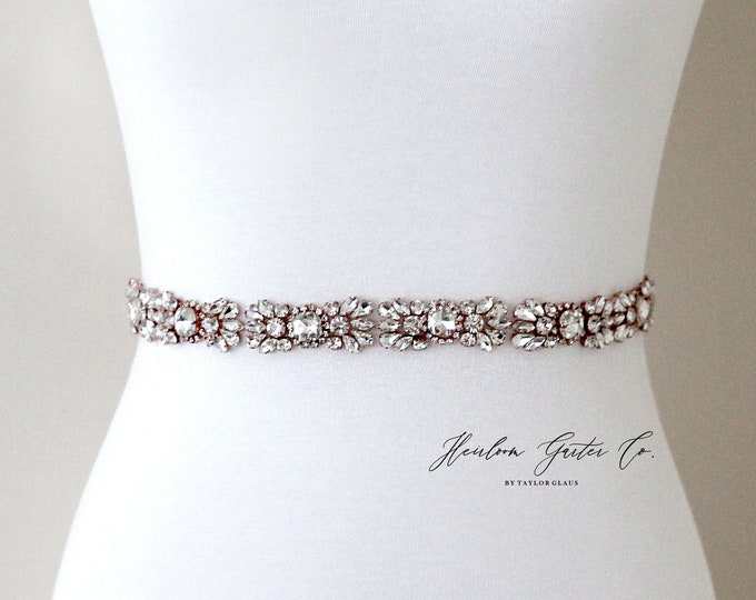 Rose Gold Bridal Belt, Prom Belt, Rhinestone Bridal Sash, Beaded Bridal Sash, Wedding Belt, Wedding Sash Rhinestone Sash B98RG