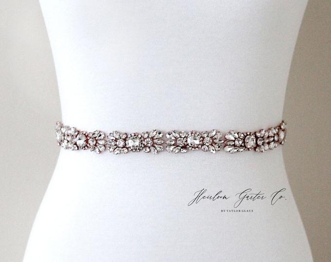 Rose Gold Bridal Belt, Prom Belt, Rhinestone Bridal Sash, Beaded Bridal Sash, Wedding Belt, Wedding Sash Rhinestone Sash B98RG