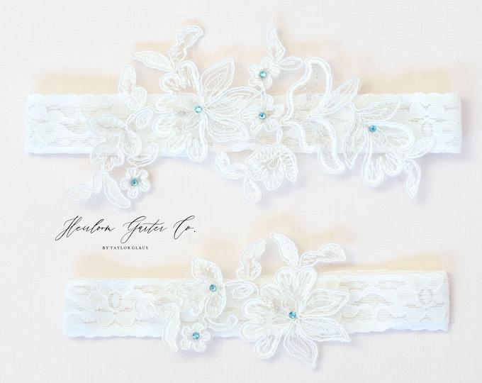 Something Blue Wedding Garter Set NO SLIP grip vintage rhinestones bridal garter, elegant wedding garter set WHITE C92blue-C92blue