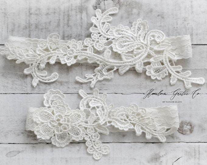 Lace Wedding Garter Set, NO SLIP grip bridal garters floral garter set IVORY C70-C70