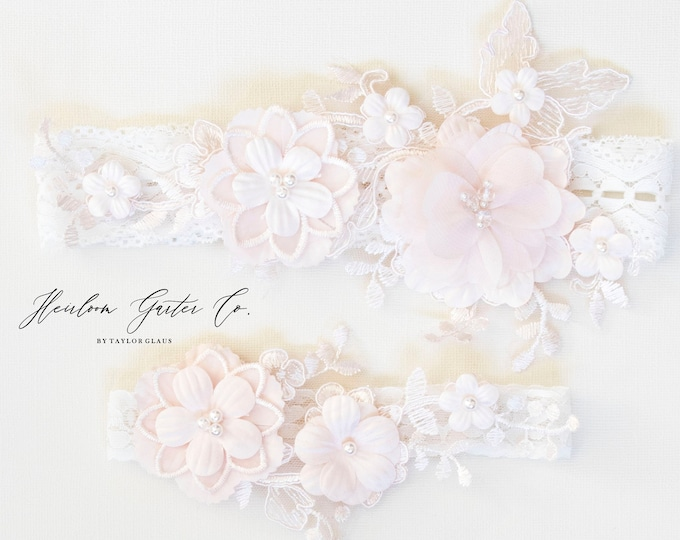 Blush Wedding Garter Set NO SLIP grip vintage rhinestones bridal garter, elegant wedding garter set IVORY BB111blush-CB111blush