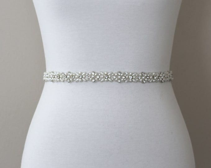 Pearl Bridal Belt, Rhinestone Bridal Belt, bridesmaid belt, Bridal Sash, Wedding Belt, Wedding Sash Rhinestone Sash B01S