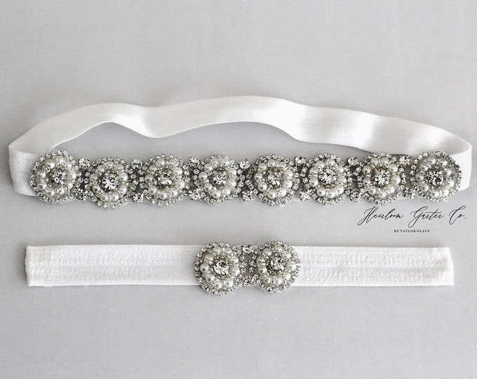 Rhinestone Wedding Garter Set , Elegant Wedding Garter, bridal garter