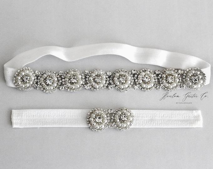 Rhinestone Wedding Garter Set , Elegant Wedding Garter, bridal garter