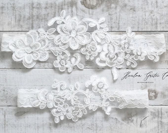 Lace Wedding Garter Set, NO SLIP grip bridal garters floral garter set WHITE C68-C68