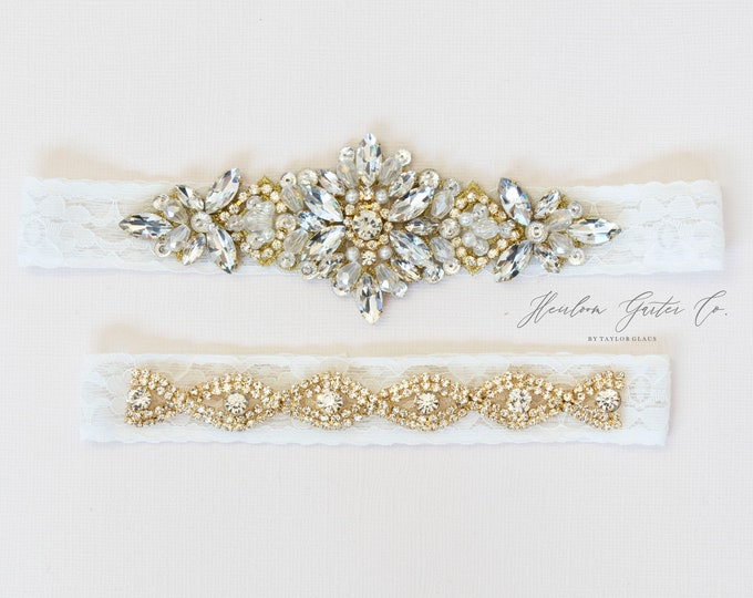 Rose Gold Wedding Garter Set NO SLIP grip vintage rhinestones bridal garter, elegant wedding garter set IVORY C79G-CB19G