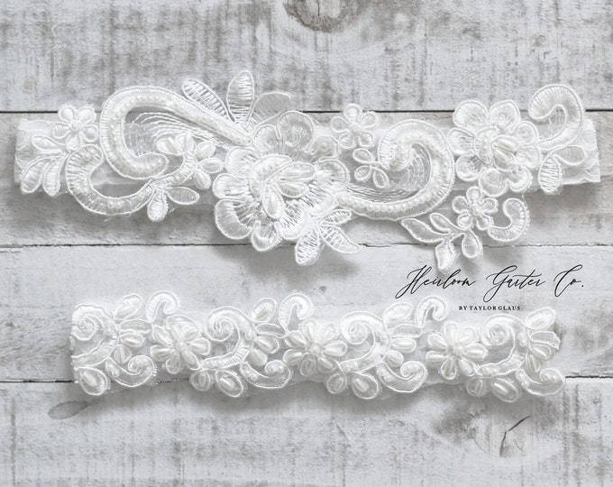 Beaded Lace Wedding Garter Set, NO SLIP grip bridal garters floral garter set WHITE C15-C40