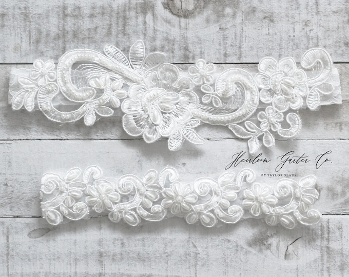 Beaded Lace Wedding Garter Set, NO SLIP grip bridal garters floral garter set WHITE C15-C40