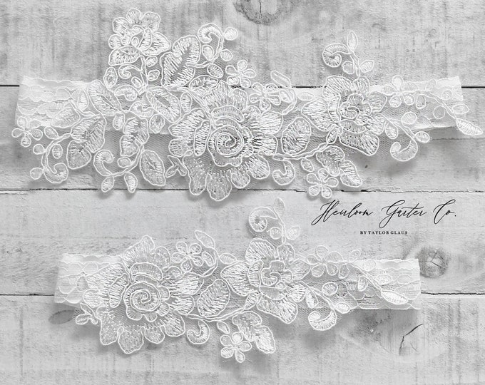 Lace Wedding Garter Set, NO SLIP grip bridal garters floral garter set WHITE C67-C67