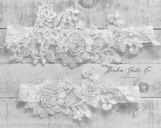 Lace Wedding Garter Set, NO SLIP grip bridal garters floral garter set WHITE C67-C67