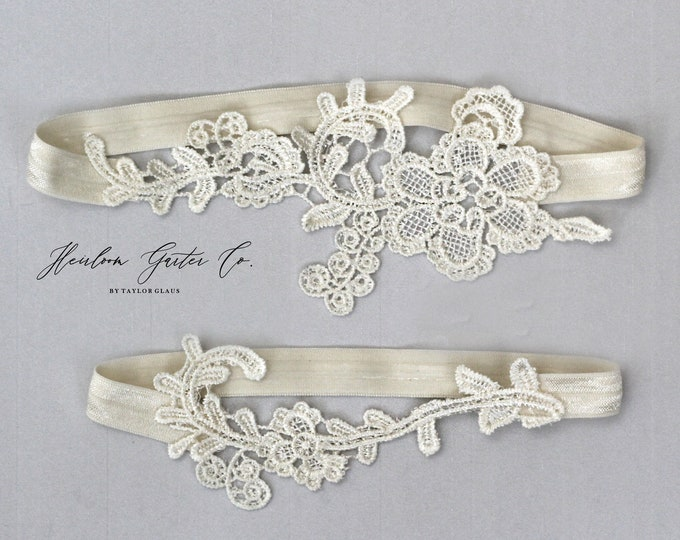 Lace Wedding Garter Set, NO SLIP grip bridal garters floral garter set IVORY E70-E70