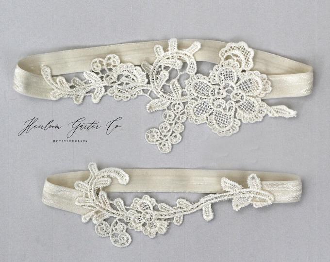 Lace Wedding Garter Set, NO SLIP grip bridal garters floral garter set IVORY E70-E70