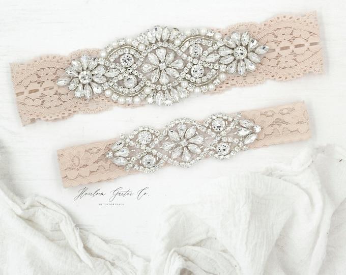 Blush Bridal Garter, NO SLIP Lace Wedding Garter Set, bridal garter set, pearl and rhinestone garter set BLUSH B01S-C02S