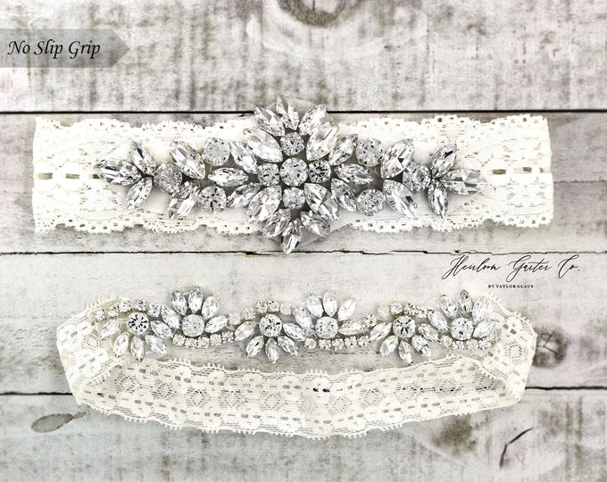 Ivory Wedding Garter, Bridal Garter, NO SLIP Lace Wedding Garter Set, bridal garter set, IVORY B41-CB05S