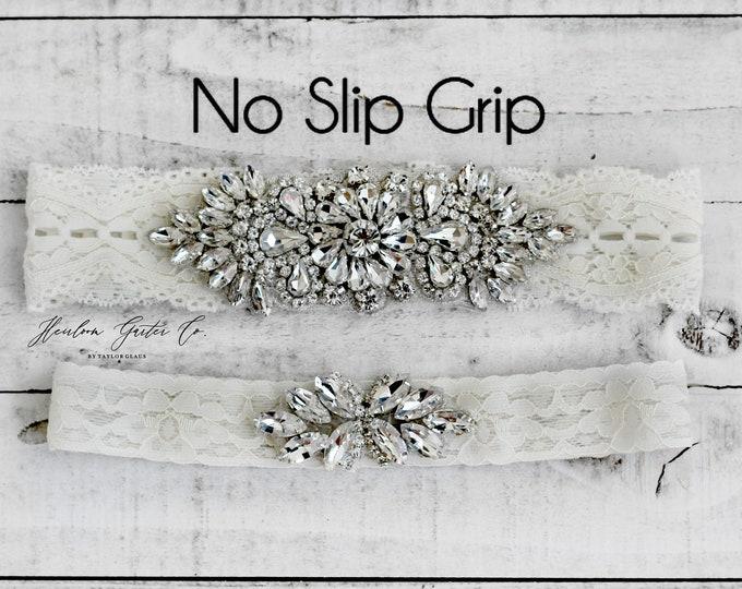 Wedding Garter, Something Blue, NO SLIP Lace Wedding Garter Set, bridal garter set, vintage rhinestones B54S-C21