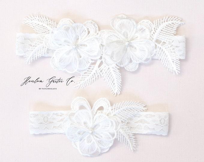 Floral Wedding Garter Set NO SLIP grip vintage rhinestones bridal garter, elegant wedding garter set WHITE C84-C84