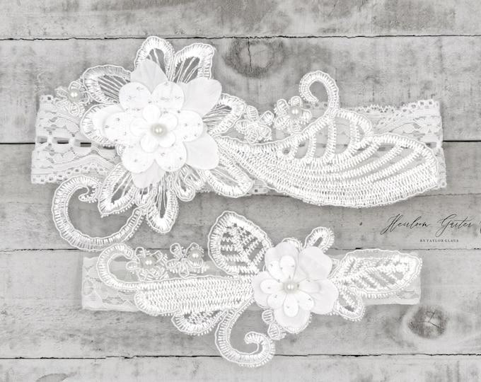 Lace Wedding Garter Set, NO SLIP grip bridal garters floral garter set WHITE B74-C74