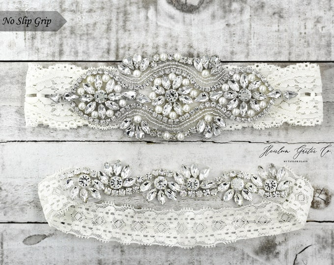 Ivory Wedding Garter, Bridal Garter, NO SLIP Lace Wedding Garter Set, bridal garter set, IVORY B05S-CB05S